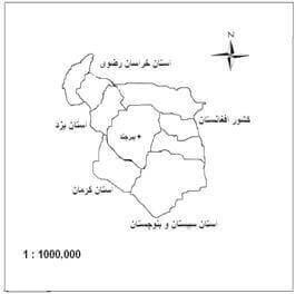 شکل (1): موقعیت شهر بیرجند در استان خراسان جنوبی