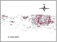 شکل (2): توزیع ساختارهای زیربنایی در شهر بیرجند