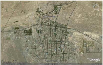 شکل (3): تصویر ماهوارهای شهر بیرجند
