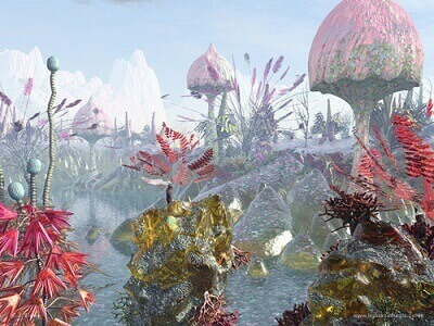 تصویر گرافیکی و تخیلی از شکل دیگری از حیات در خارج از زمین
